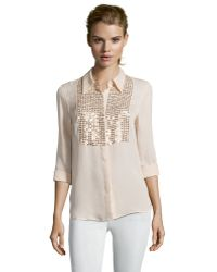 L'Agence Light Pink Silk Woven Sequined Long Sleeve Blouse - Lyst