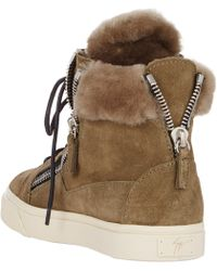 Giuseppe Zanotti Shearling-Lined Double-Zip Sneakers - Lyst
