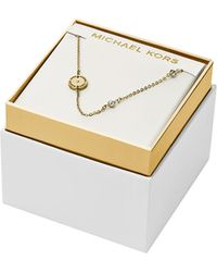 Michael Kors Gold Tone Crystal Station Necklace - Lyst