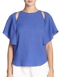 Halston Heritage Silk Flutter-Sleeve Blouse blue - Lyst