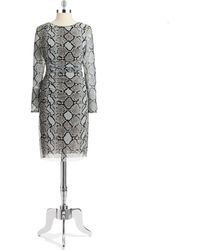 Kay Unger Snakeskin Sheath Dress - Lyst