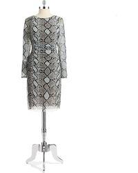 Kay Unger Snakeskin Sheath Dress - Lyst