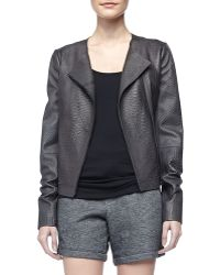 Vince Snakeembossed Leather Jacket - Lyst