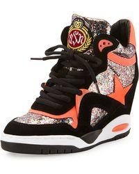 Ash Bling Stardetailed Glitter Wedge Sneaker - Lyst