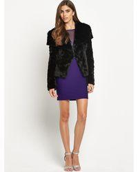 Lipsy Textured Fur Coat - Lyst