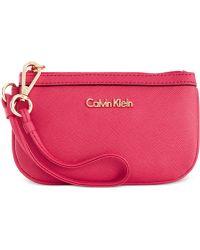 Calvin Klein Saffiano Leather Wristlet - Lyst