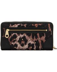 Juicy Couture - Ongoing Nylon Quiltedstudded Zip Wallet in Brown - Lyst