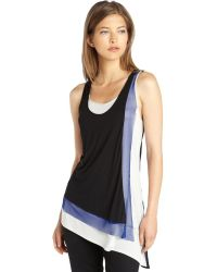BCBGMAXAZRIA Black Knit Colorblock Layered Front Clyde Tank Top - Lyst