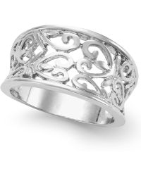 City By City - Silver-Tone Filigree Wide Band Ring - Lyst