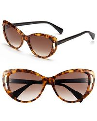 Alexander McQueen 55Mm Cat Eye Sunglasses - Havana - Lyst
