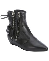 Giuseppe Zanotti Black Leather Zip Detail Ankle Boots - Lyst