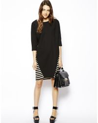 Asos Batwing Shift Dress with Stripe Back - Lyst