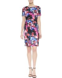 St. John Mini Floralscape-Print Tuck-Pleated Dress - Lyst
