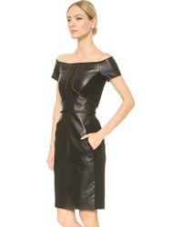 J. Mendel Leather Off Shoulder Dress - Noir - Lyst