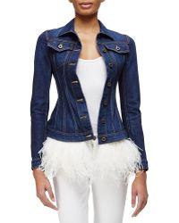 Burberry Prorsum Feather-Trimmed Denim Jacket blue - Lyst