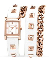 Vince Camuto - White Studded Wrap Watch 21mm - Lyst