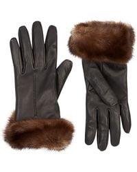Harrods of London Mink Fur Trimmed Leather Gloves - Lyst