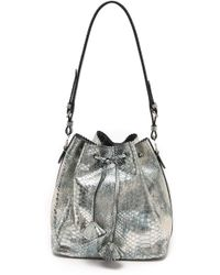 Rochas Snake Embossed Drawstring Bag Light Grey - Lyst