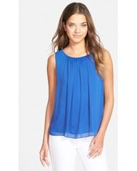 Sam Edelman Sheer Blouse blue - Lyst