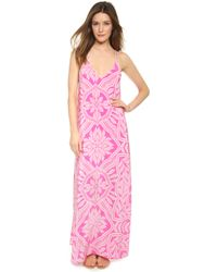 Yumi Kim Summer Night Silk Maxi Dress - Pink Abstract Paisley - Lyst