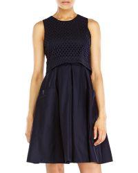 Eliza J Popover Eyelet Dress - Lyst