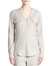Theory Trisalta V-Neck Blouse - Lyst