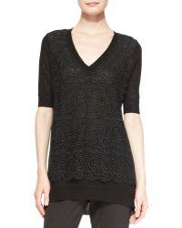 Lela Rose Lace-Overlay Tunic Sweater - Lyst