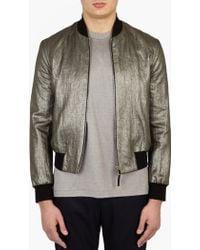 Paul Smith | Silver Linen Bomber Jacket | Lyst