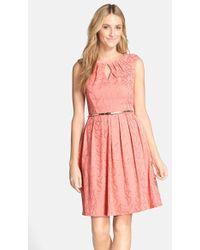 Ellen Tracy Women'S 'Gilded' Belted Knit Fit & Flare Dress - Lyst