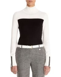 Anne Klein Color Blocked Turtleneck Top - Lyst