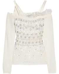 Valentino Embellished Fineknit Top - Lyst