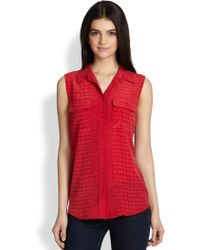 Equipment Slim Signature Silk Croc Print Sleeveless Shirt - Lyst