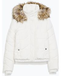 Zara Quilted Anorak with Fur Hood - Lyst