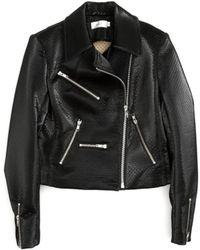 A.L.C. Clarke Vegan Motorcycle Jacket black - Lyst