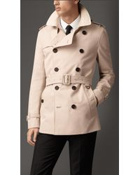 Burberry Cotton Gabardine Trench Coat With Alligator Topcollar - Lyst