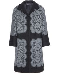 Dolce & Gabbana Lace-embellished Wool Coat - Lyst