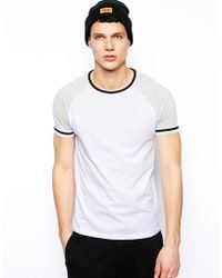Asos Tshirt with Contrast Rib and Arm Stripe - Lyst