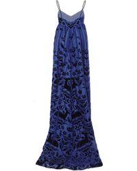 Honor Woodland Devore Velvet Empire Gown - Lyst