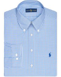 Ralph Lauren Polo Slim-Fit Royal Blue Gingham Dress Shirt - Lyst