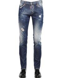 DSquared² 18Cm Slim Fit Blue Blur Wash Denim Jeans - Lyst