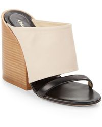 Chloé Leather Double-band Wedge Sandals - Lyst