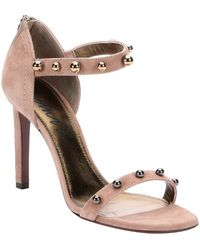 Lanvin Beige Suede 'Kipa' Sphere Studded Ankle Strap Sandals - Lyst