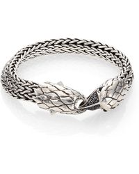 John Hardy Classic Chain Black Sapphire, Black Chalcedony & Sterling Silver Eagle Head Bracelet - Lyst