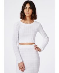 Missguided Cropped Grid Stitch Knitted Sweater White - Lyst