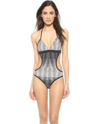 Shoshanna Ombre Cutout Swimsuit - Black/White - Lyst