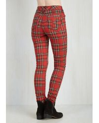 Tripp Nyc - Never Plaid It So Good Pants In Red - High-rise - Lyst