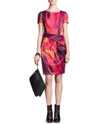 Halston Heritage Printed Front-drape Dress - Lyst