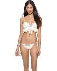She Made Me Crochet Frill Bikini Top - Natural - Lyst