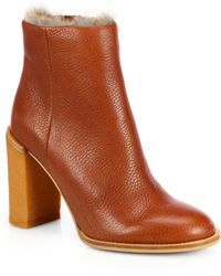 See By Chloé Furlined Leather Ankle Boots - Lyst