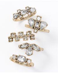 Ann Taylor Modern Classic Crystal Ring Set - Lyst